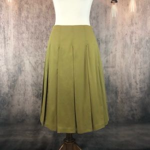 Boden Olive Green Full Skirt with Box Pleats 10R